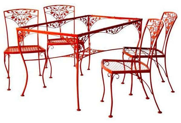 Vintage Orange Wrought Iron Patio Furniture 5 Piece Set Mediterranean Outdoor Dining Sets By 86 Vintage