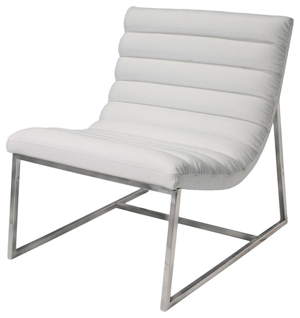 kingsbury white leather lounge accent chair - contemporary