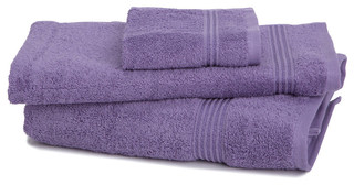 600 Gram 3-Piece Egyptian Cotton Towel Set, Royal Purple