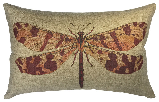 Dragonfly Linen Pillow.