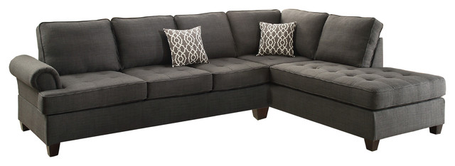 Sectional Sofa With Reversible Chaise, Charcoal Gray Black