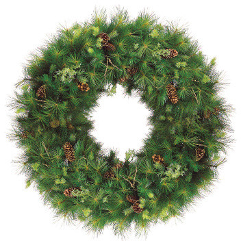 Silk Plants Direct Pine Cone, Pine And Twig Hinged Wreath, Pack Of 1.