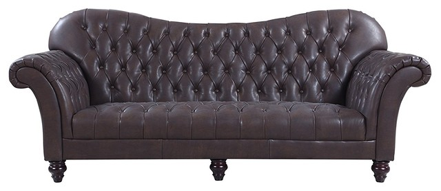 Classic Tufted Real Leather Tufted Victorian Sofa, Dark Brown