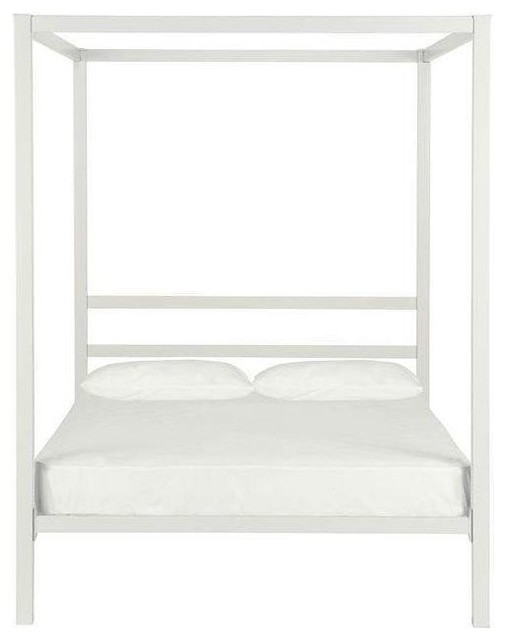 4daabf5ced9b96 Full size Modern White Metal Canopy Bed Frame - Contemporary - Canopy Beds  - by Hilton Furnitures