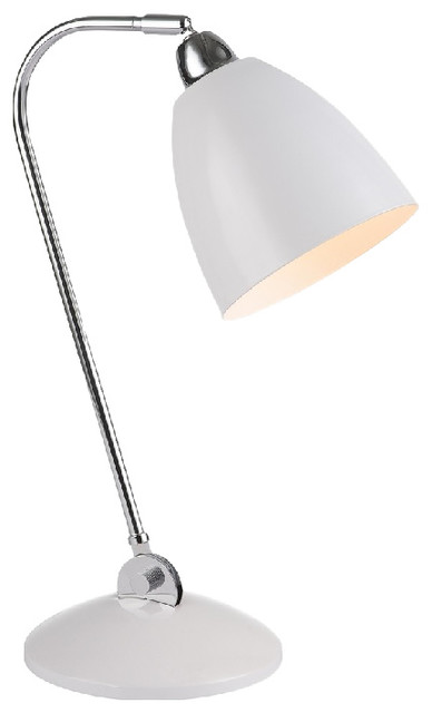 Vento 1-Light Table Lamp, Chrome and White