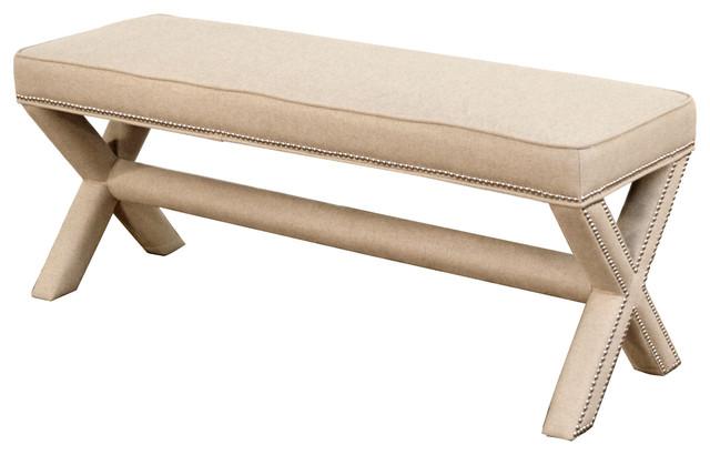 Kenya Modern Classic Linen Upholstered X-Based Bench.