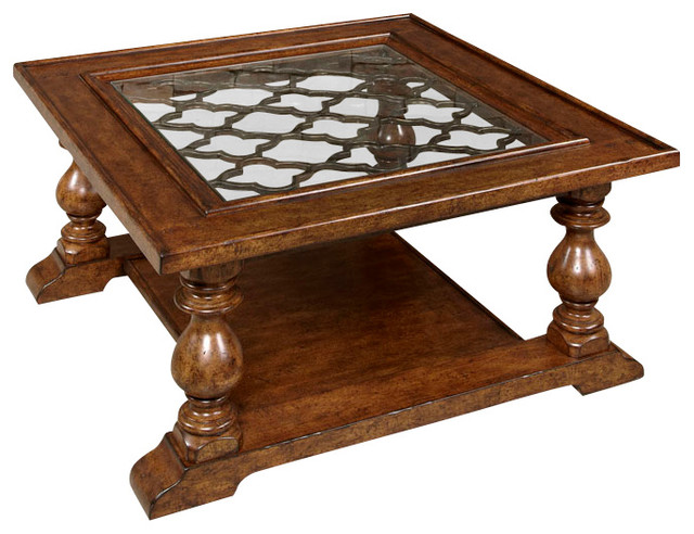 Hammary Homestead 4 Piece Square Coffee Table Set In Antique Brown Traditional Coffee Table