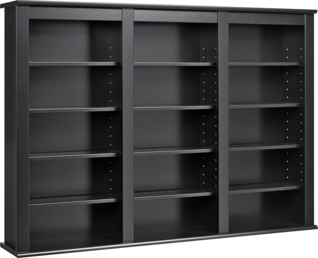 Triple Wall Mounted Storage Black Transitional Media Racks And Towers