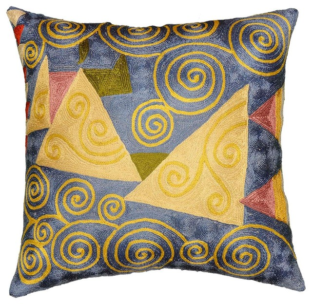 "Klimt Cushion Cover Blue Jewel Tree Ii Hand Embroidered 18"" X 18""."