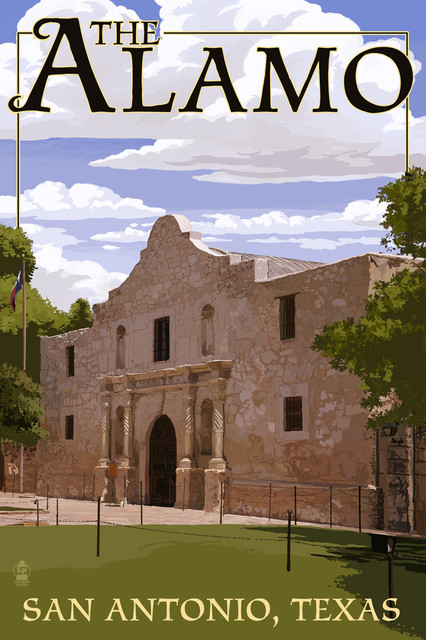 The Alamo San Antonio Texas Print Contemporary Prints And Posters By Lantern Press