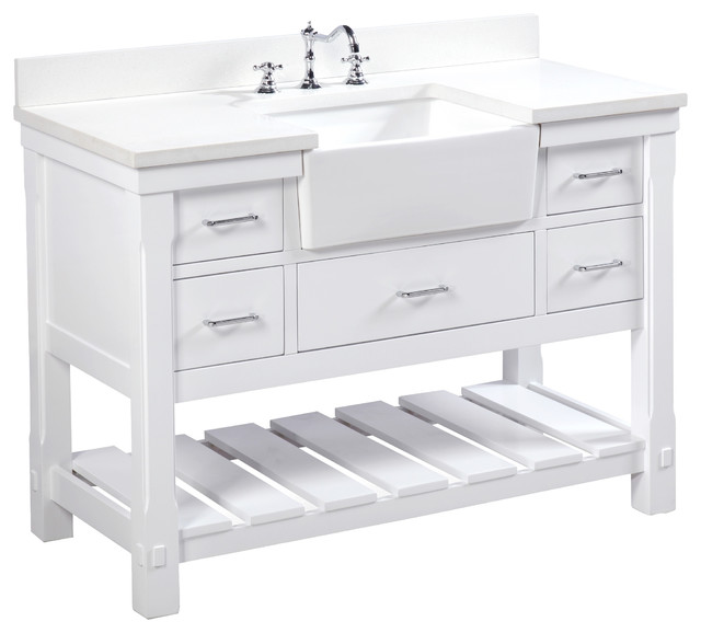 "Charlotte Bathroom Vanity, White, 48"", Quartz Top, Single Sink"