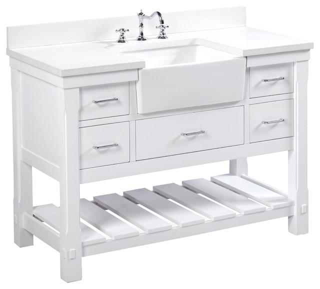 "Charlotte Bathroom Vanity, White, 48"", Quartz Top, Single Sink"