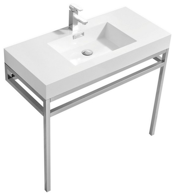 Haus 40 Stainless Steel Console With White Acrylic Sink, Chrome.
