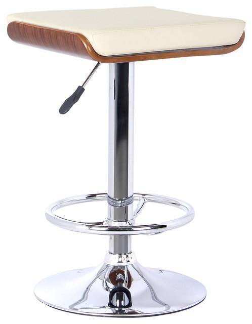 Java Modern Adjustable Swivel Backless Bar Stool, Cream