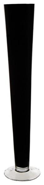 "Glass Trumpet Centerpiece Vase, 32"", Black"