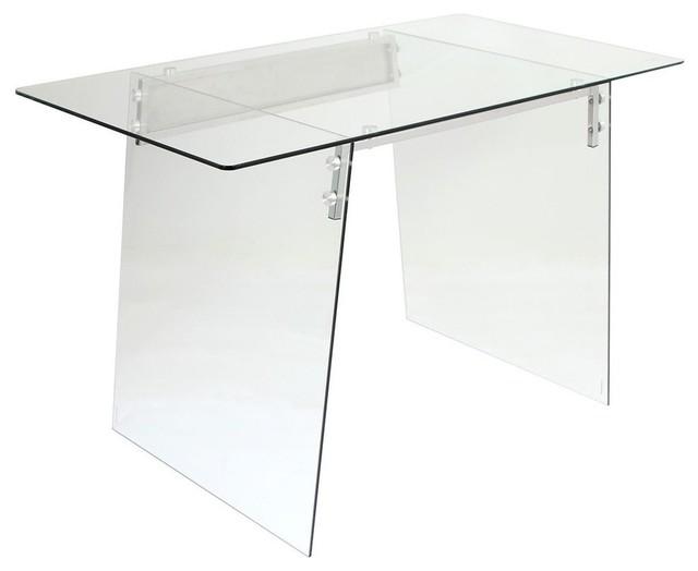 Lumisource Glacier Desk, Clear And Chrome.