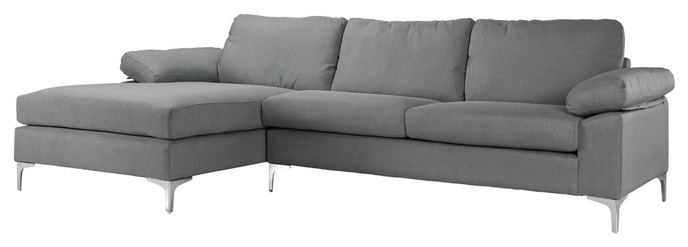 Modern Large Linen Fabric Sectional Sofa With Extra Wide ...