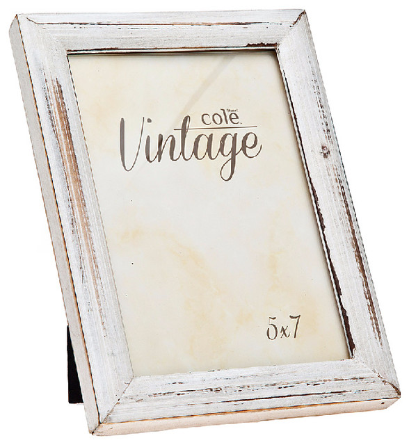 philip whitney 5x7 distressed white wood frame picture frames houzz. Black Bedroom Furniture Sets. Home Design Ideas