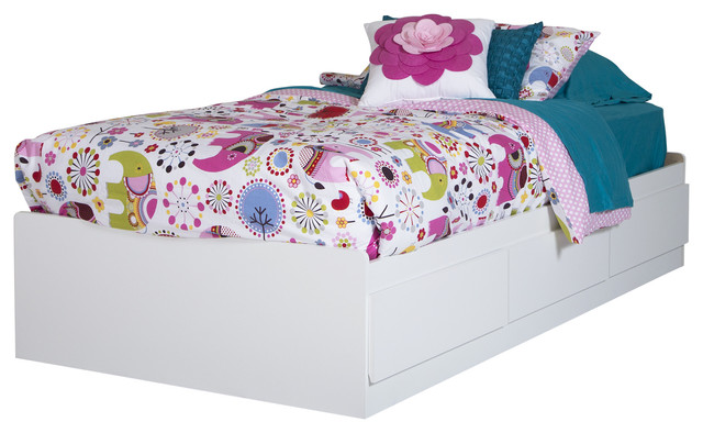 South Shore Logik Twin Mates Bed With 3 Drawers, Pure White.