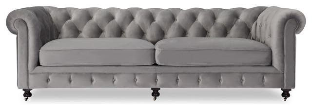 Delicieux Chesterfield Classic Modern Premium Fabric Sofa, Nimbus Velvet