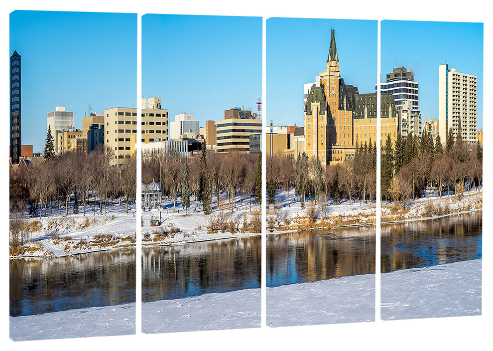 Saskatoon Skyline Landscape Canvas Photo Print Contemporary Prints And Posters By Design Art Usa