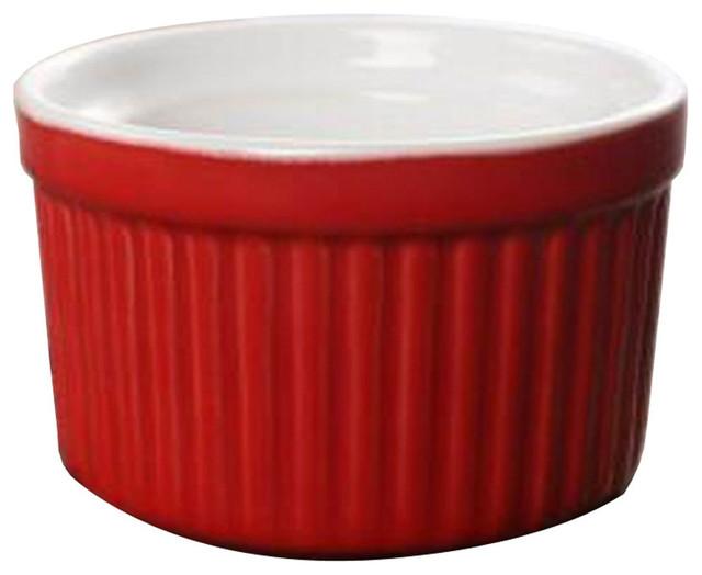 Set Of 4 Ceramic Dessert Bowls Ramekins Souffle Baking Cups, Red.