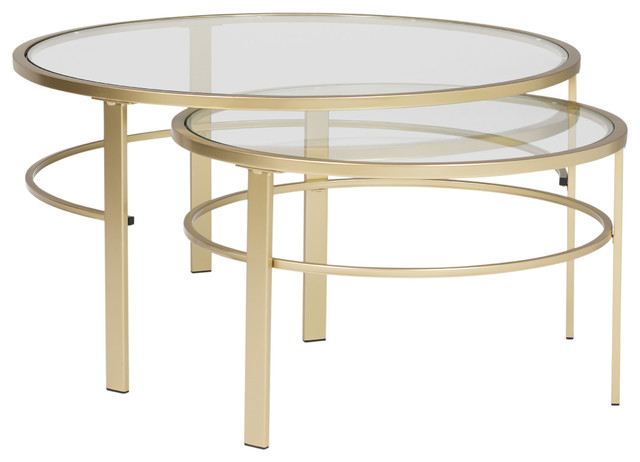 Corbel Modern Round Metal And Gl Nesting Coffee Table Set Gold 36x26