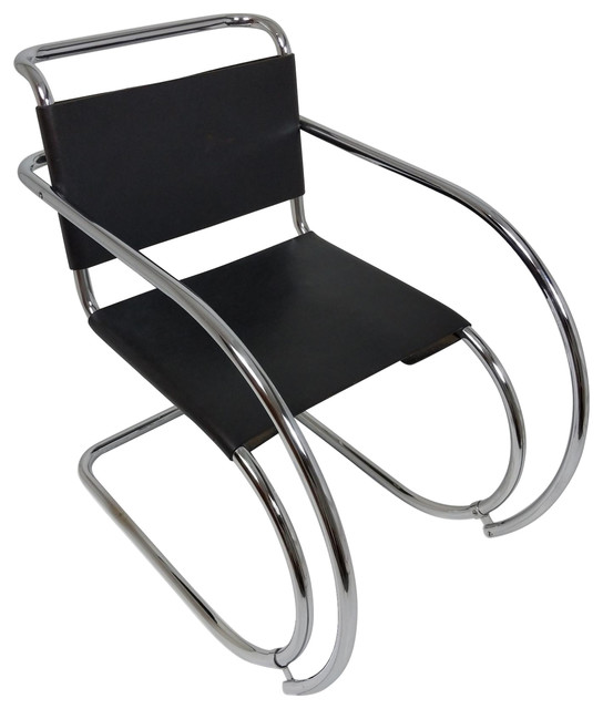 Strange Consigned Vintage Mies Van Der Rohe Mr Lounge Chair Black Leather Chrome Theyellowbook Wood Chair Design Ideas Theyellowbookinfo