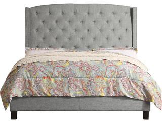 Noblesville Queen Upholstered Panel Bed, Gray, Queen