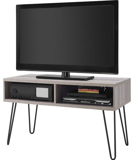 Modern TV Stand, Oak Finish With Mid-Century Style Metal Legs ...