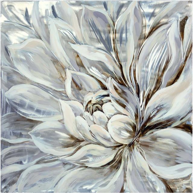 """snowy Bloom"" Wall Decor, 39.5""x39.5""."