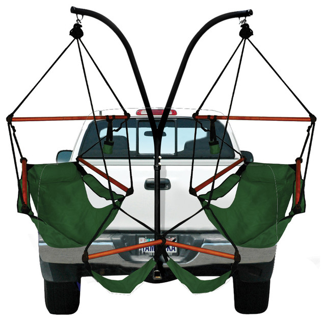 Great Hammaka Trailer Hitch Stand And 2 Chairs Combo With Wooden Dowels, Hunter  Green