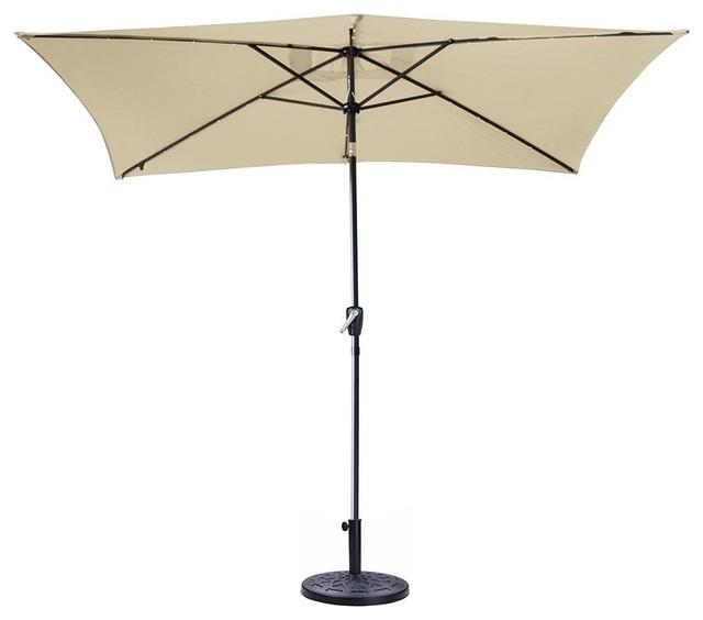 10 X6 5 Patio Aluminum Umbrella Solar Led Lights Crank Tilt Beige With Base Sta Contemporary Outdoor Umbrellas By Yescom