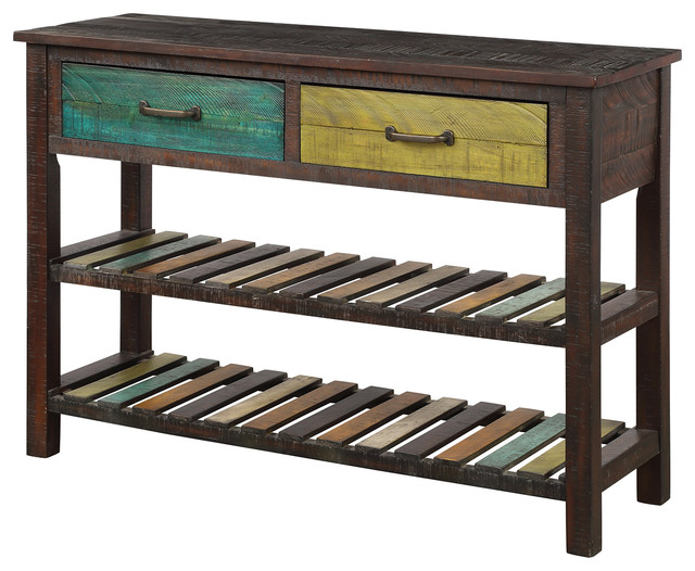 Sofa Table Console Tables For Entryway Hallway With Drawers Farmhouse By Flint Garden Inc - Solid Mahogany Wood Entry Wall Console Sofa Table