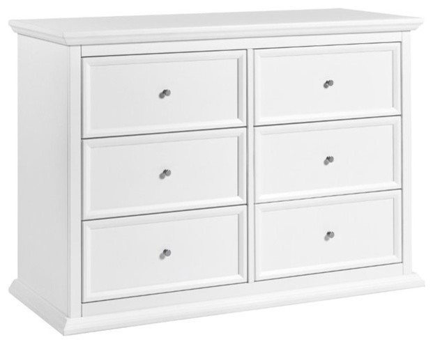 Mdb Classic Foothill-Louis 6 Drawer Changer Dresser With Tray, White, M3916w.