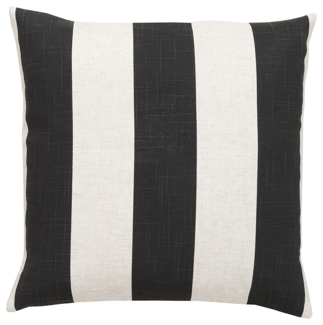 Surya - Simple Stripe Black and Cream Throw Pillow - View in Your Room! Houzz