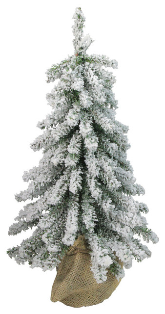 15 Flocked Downswept Mini Village Pine Artificial Christmas Tree Unlit