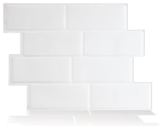 SmartTiles Metro White Subway Peel and Stick Tile, Sample