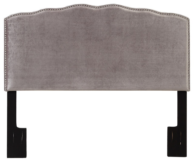 Nailhead-Shaped Upholstered Headboard, Velvet Shimmer, Queen.