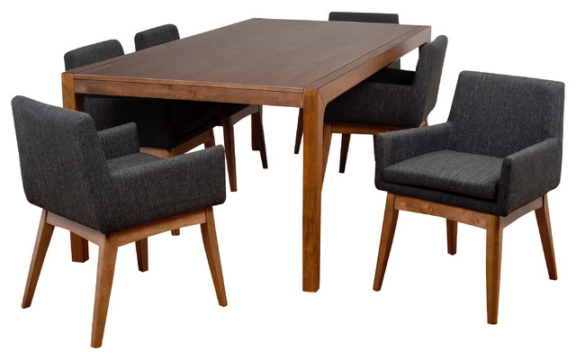 Midtown Concept Ruby 7 Piece Liquorice Rectangular Dining Set