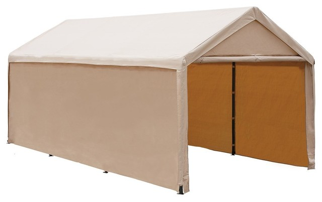 Abba Patio 10&x27;x20&x27; Enclosed Carport Canopy With Sidewalls, Beige.