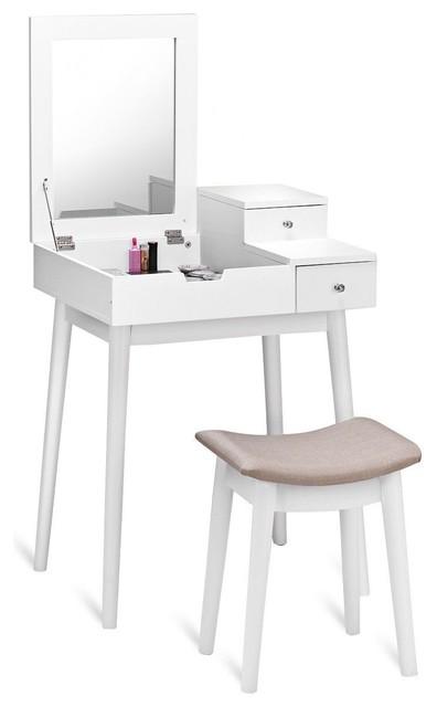 Elegant Vanity Dressing Table Set Flip Mirror Desk Furniture Stool