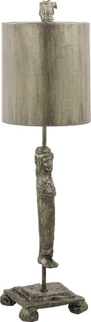 Caryatid Table Lamp, Silver, Silver