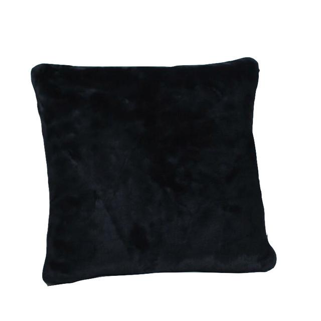 Black Fur Throw Pillows : Dragon 88 Beaver Faux Fur Pillow, Black - Decorative Pillows Houzz