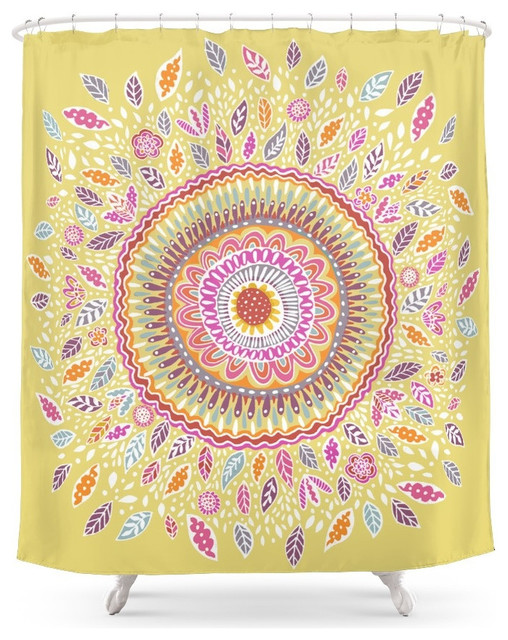 Yellow Sunflower Mandala Shower Curtain