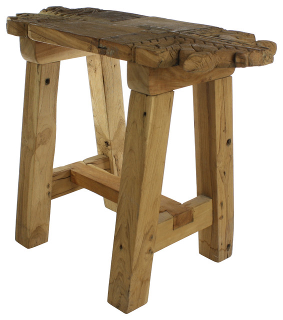 Portico Salvaged Wood Stool Rustic Accent And Garden Stools