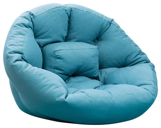 Sleepy Futon Chair, Blue Contemporary Bean Bag Chairs