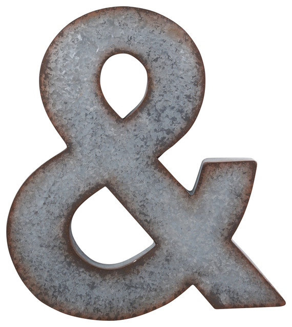 Galvanized Metal Ampersand Wall Sign Rustic Novelty