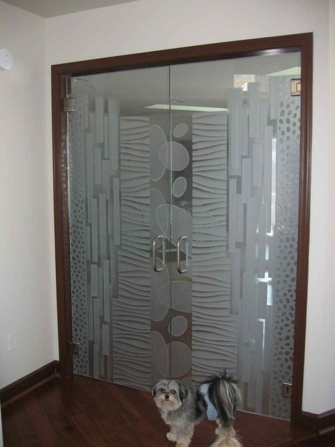 Interior glass doors with obscure frosted glass designs for Modern glass designs
