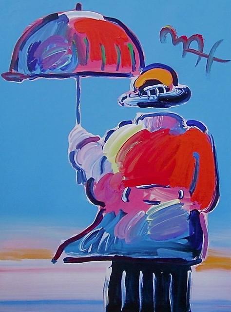 Umbrella Man Original Mixed Media Painting Peter Max